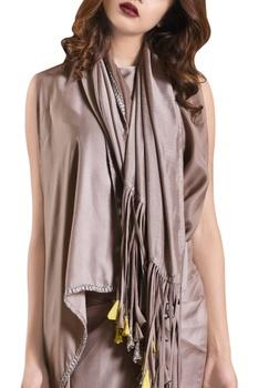 Fog grey habutai silk draped skirt & crop top