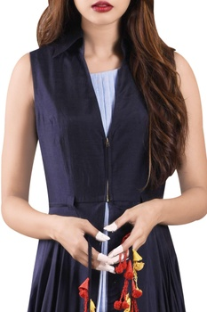 Navy blue asymmetric jacket with doctor's blue dress