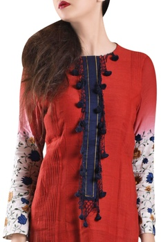 Red hand-woven khadi panelled dress