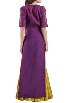 Corn yellow pleated muslin maxi skirt with wine crop top