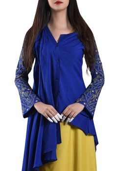 Blue pleated layer shirt with asymmetric dress