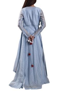 Blue hand-woven maxi dress with zari jacket
