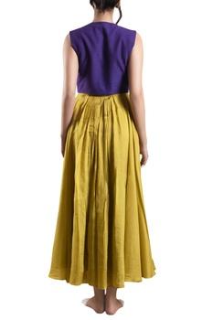 Yellow hand-woven khadi dress with blue crop jacket