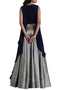 Blue high-low blouse with raw silk grey lehenga