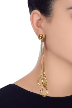 Gold plated dangler earrings