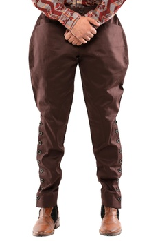 Brown cotton breeches with side buttons
