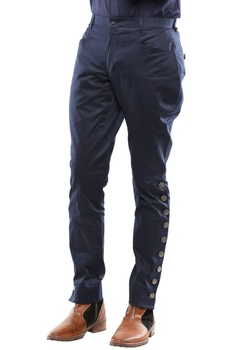 Navy blue cotton breeches with side buttons