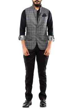 Grey & black linen nehru jacket
