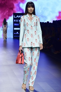 Aqua blue twill embroidered blazer with trousers