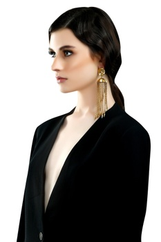 Gold plated jhumka long earrings