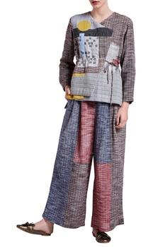 Multicolored paneled khadi cotton pants