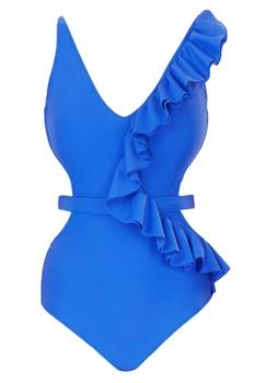 Blue polyamide & lycra frilled cut-out monokini