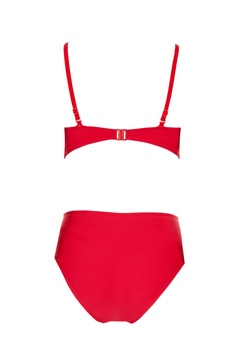 Red polyamide & lycra cut-out monokini