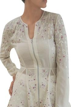 Ivory sheer silk & georgette godet jacket