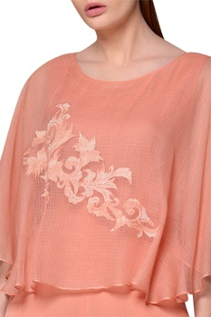 Peach kota silk & chiffon cape jumpsuit