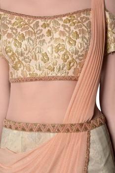 Pink ombre brocade pre-draped saree