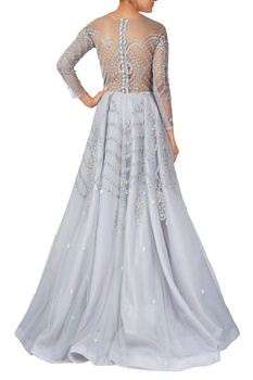 Powder blue net & organza sequin & thread work embroidered gown