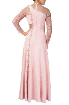 Pink organza pearl embellished concept anarkali gown with stole
