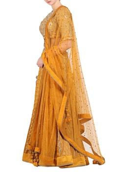 Ochre brocade embroidered lehenga with jaal embroidered blouse & dupatta