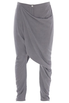 Grey rayon flex draped pants