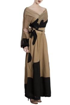 Black repier cotton color-blocked wrap blouse with palazzos