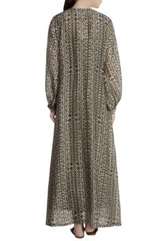 Grey malwari linen abstract printed jacket