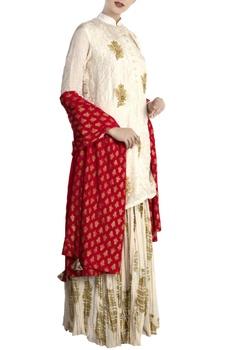 Ivory & red silk & crepe heritage fish lehenga with blouse & dupatta