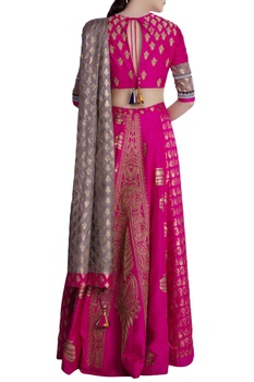 Hot pink & olive green silk embellished lehenga with blouse & dupatta