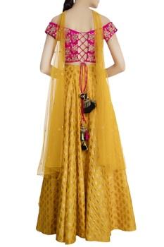 Yellow & pink silk & net kalash high-low lehenga with blouse & dupatta