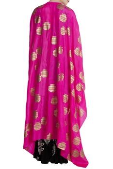 Pink & black silk & crepe tribal vase print cape with skirt & blouse