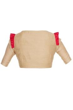 Gold tussar silk saree blouse with ruffle detailing