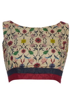 Beige-gold tussar silk floral printed blouse