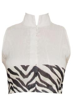 Black & white high neck zebra printed saree blouse