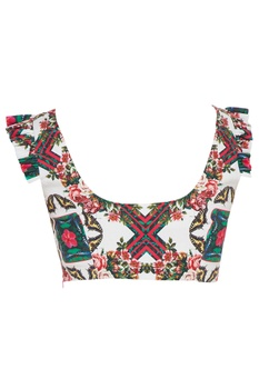 White psychedelic floral printed saree blouse