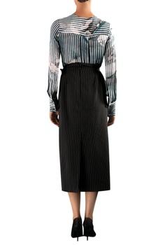 Black & white viscose digital print blouse