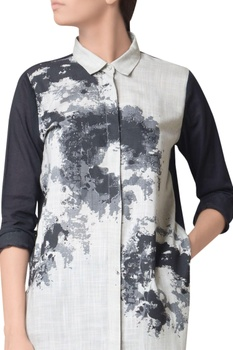 Metal grey cotton screen print shirt
