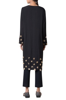 Black viscose slub machine embroidered long tunic