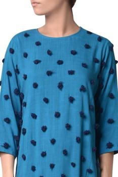 Blue viscose slub machine embroidered long tunic
