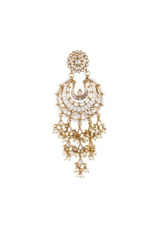 Gold & white alloy meena latkan chaandbali earring