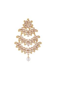 Gold & white alloy uncut chandelier earring