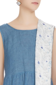 White linen floral hand block printed stole