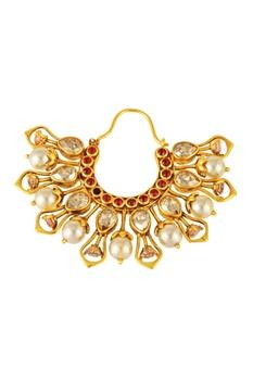 Gold plated Tarun Tahiliani tarakanna hoop earrings