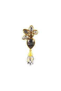 Gold plated Tarun Tahiliani patina crystal earrings