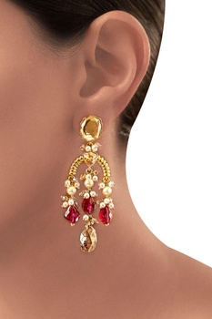 Maroon Tarun Tahiliani heritage long earrings