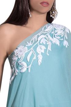 Blue georgette & lycra hand embroidered jumpsuit