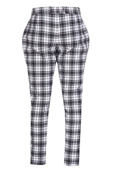 Checks pants with oval knee patch.