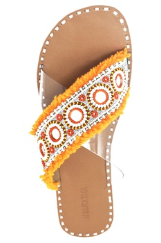 Orange & beige cross-criss flat sandals