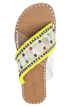 Yellow & beige criss-cross tassel sandals