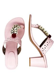 Pastel pink cobian strap heel sandals