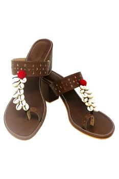 Brown cobian strap heel sandals